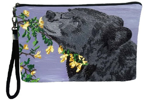 Black Bear Large Vegan Wristlet, Pencil Bag, Cosmetic Bag - From My Original Paintings - Support