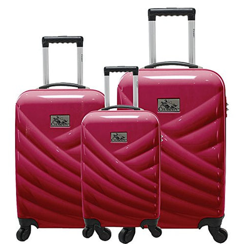 Chariot Veneto 3 Piece Hardside Spinner Luggage Set (Raspberry)
