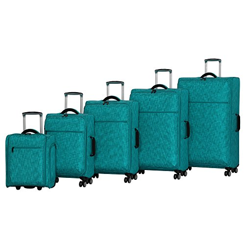 it luggage Stitched Squares 8 Wheel Lightweight Expandable 5-Piece Set, Aqua Blue