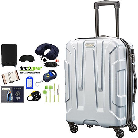 "Samsonite Centric Hardside 20"" Carry-On Luggage Silver (92794-1776) With Deco Gear Ultimate 10Pc"