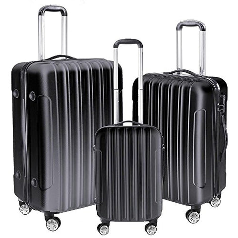 GHP Set of 3 Black ABS Hard Shell 190D Polyester Lining Trolley Case Luggage Set
