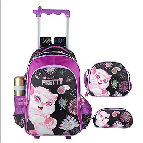 Hcc& 3D Cat Girl 3Pcs Waterproof Rolling Backpacks, Wheeled Backpacks With Pencil Case Lunch Bag