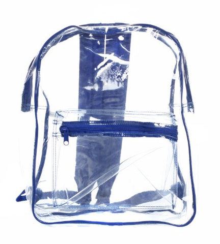 Bags for Less Clear PVC Backpack with Royal Blue Trim