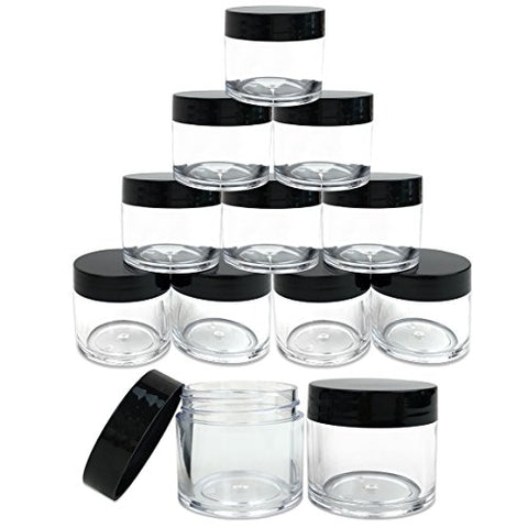 (Quantity: 12 Pieces) Beauticom 30G/30ML (1 Oz) Round Clear Jars with Black Lids for Pills, Medication, Ointments and Other Beauty and Health Aids - BPA Free