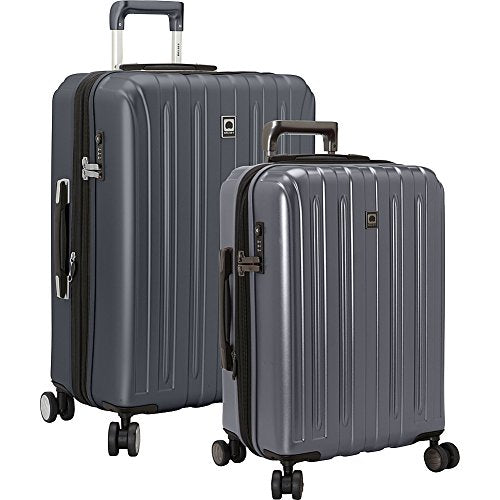 Delsey Luggage Titanium 2 Piece Hardside Spinner Carry on and Check in Luggage Set, One Size, Graphite