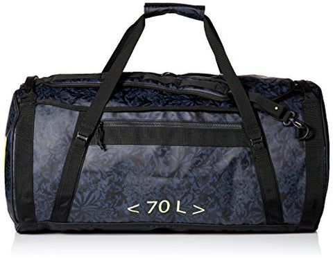 Helly Hansen Duffel 2 Water Resistant Packable Bag with Optional Backpack Straps, 70-liter (Meduim), 993 Black / Print