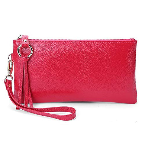 BOBILIKE Women's RFID Blocking Leather Wallets Credit Card Cash Holder Clutch Wristlet, Rose Red