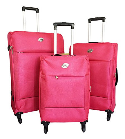3Pc Luggage Set Suitcase Travel Bag Rolling Wheel Carryon Expandable Upright Neon Pink