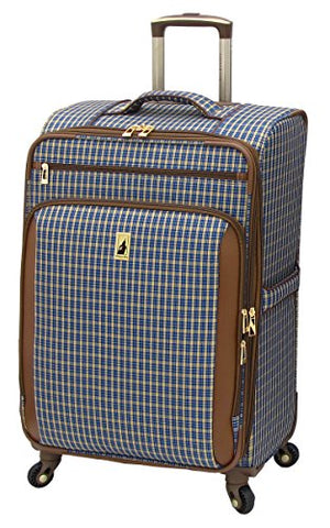 London Fog Kensington 25 Inch Expandable Spinner, Blue Tan Plaid
