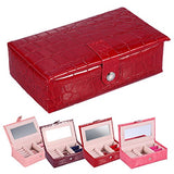 Portable Travel Jewelry Box Case Organizer Holder With Mirror Used To Storage Ring Earring Necklace