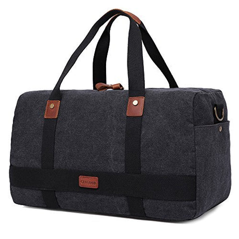 GINGOOD Canvas Travel Duffel Bag Leather Trim Weekend Bags #202 Black