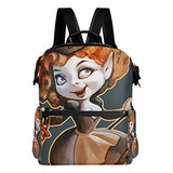 ColourLife Halloween Witch on Broomstick Stylish Casual Shoulder Backpacks Laptop School Bags Travel Multipurpose Daypack for Women Girls Kids