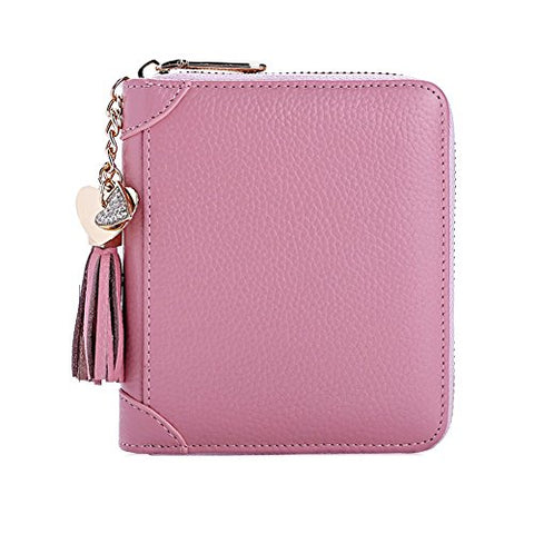 BOBILIKE Genuine Leather Credit Card Holder Case Zip Around Wallet Purse for Women, 40 Card Slots