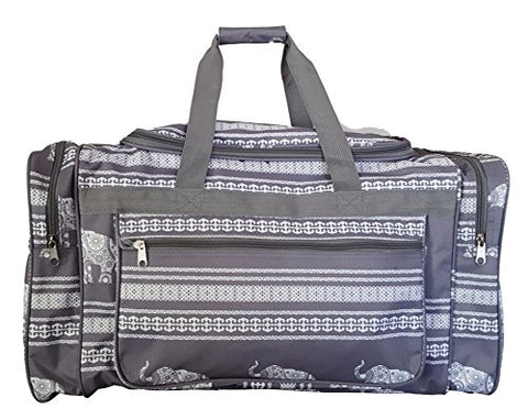 21 Inch Fashion Print Gym Dance Cheer Travel Duffle Bag (Gray Stripe Elephant)