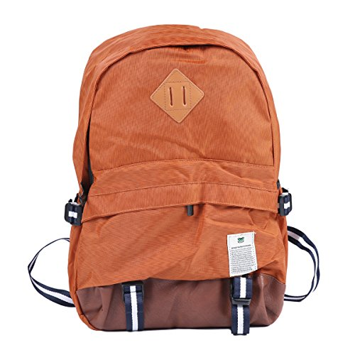 Damara Womens Preppy Casual Canvas PU Spliced Computer Backpack,Brown