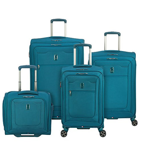 Delsey Luggage Hyperglide 4 Piece Luggage Set Carry On & Checked Spinner Suitcases, Teal Blue
