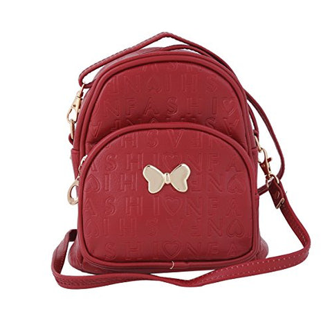Damara Young Girl's Zipper Small Travelling Casual Backpack,Wine Red