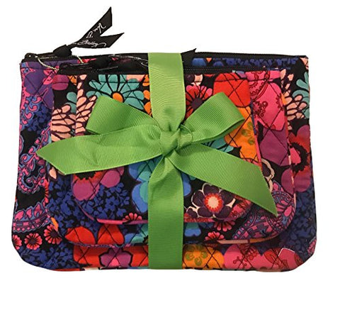 Vera Bradley Cosmetic Trio Floral Fiesta Of 3 With Solid Black Lining