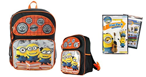 "Despicable Me Minion Study Hard 16"" Backpack And Play Pack Bundle - 2 Items"