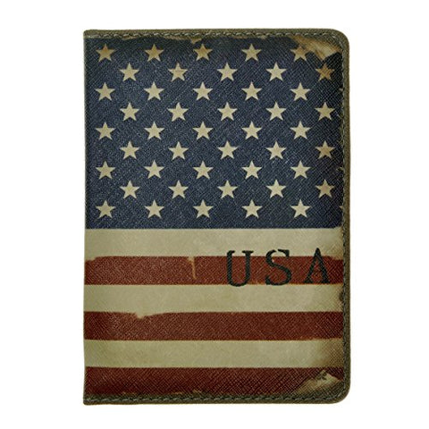 Zlyc Vintage Novelty Pu Leather Travel Wallet Passport Holder Case Waterproof Cover, Us National