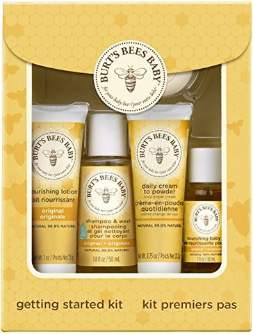 Burt'S Bees Baby Getting Started Gift Set, 5 Trial Size Baby Skin Care Products - Lotion, Shampoo &