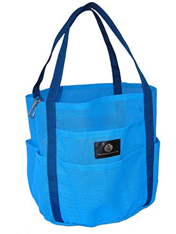Saltwater Canvas Mesh Dolphin Bag, 7 Pockets, Medium Beach Tote, Gym, Sky Blue