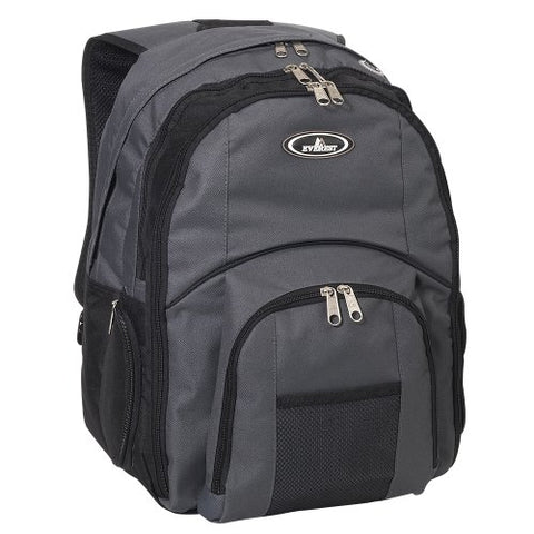 Everest Luggage Laptop Computer Backpack, Charcoal/Black, Charcoal/Black, One Size