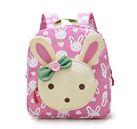 X-HAPPY Rabbit Animals Kids Book Backpack Baby Girls School Bag (pink)