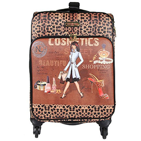 "Nicole Lee Women'S 20"" 4 Wheels Expandable Carry-On Luggage Cheetah Print, Cosmetics"