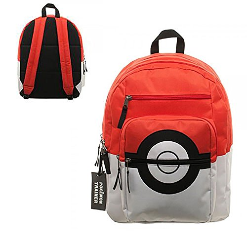 Bioworld Pokemon Pokeball Backpack With Trainer Bag Charm
