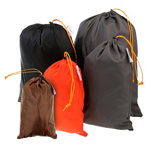 MonkeyJack 5 Pieces/ Set Drawstring Camping Travel Stuff Sack Reusable Durable Luggage Clothes