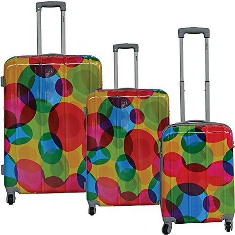 Mcbrine Luggage Lightweight Hardside 3-Piece Luggage Set (Circle Pattern Print)
