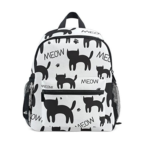 GIOVANIOR Cute Meow Black Cat Kitten Paws Travel School Backpack for Boys Girls Kids