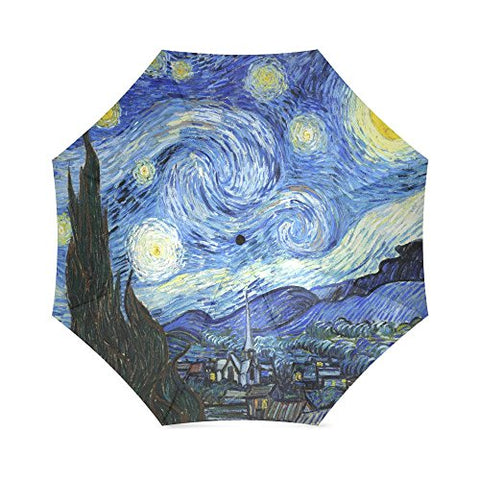 The Starry Night By Vincent Van Gogh, Landscape Painting Folding Rain Umbrella/Parasol/Sun Umbrella