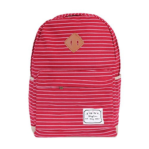 Damara Womens Pinstripe Canvas Daily Large Shoulders Bag,Red