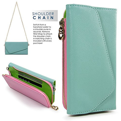 Mint Two-Tone Samsung Galaxy Note 4, Note 5 Clutch With Shoulder Strap
