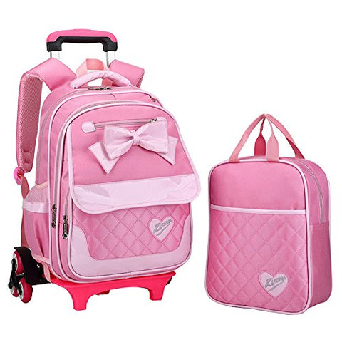 Fanci 2Pcs Bowknot Princess Style Trolley School Book Bag for Girls Boys Wheeled Backpack with 6