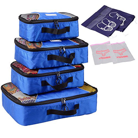 Xabl Packing Cubes Travel Luggage Organizer 4Pc Set (Blue)