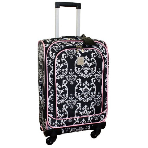 Jenni Chan Damask 360 Quattro 21 Inch Upright Spinner Carry On Luggage, Black/Pink, One Size