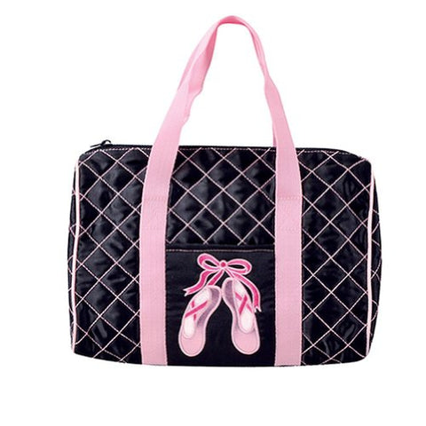 Dansbagz By Danshuz Quilted On Pointe Satin Duffel Bag, Black, Os