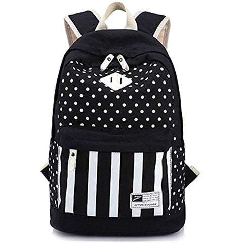 S Kaiko Canvas Backpack School Bakcpack For Women And Men Polka Dots And Stripe School Bag