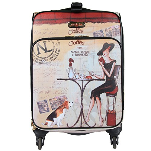 "Nicole Lee Women'S 20"" 4 Wheels Expandable Carry-On Luggage Beige Time Print, Coffee"