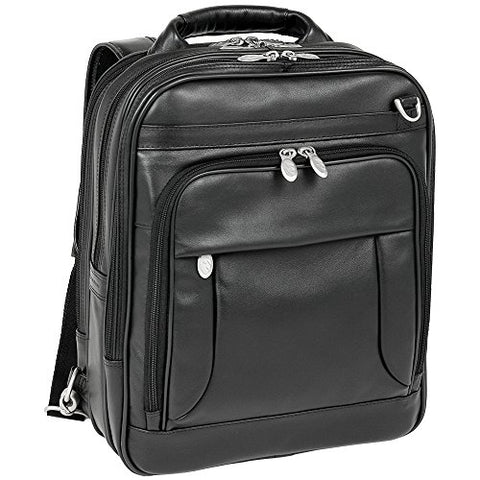 "McKlein, I Series, LINCOLN PARK, Full Grain Cashmere Napa Leather, 15"" Leather Three-Way Backpack Laptop Briefcase, Black (41655)"