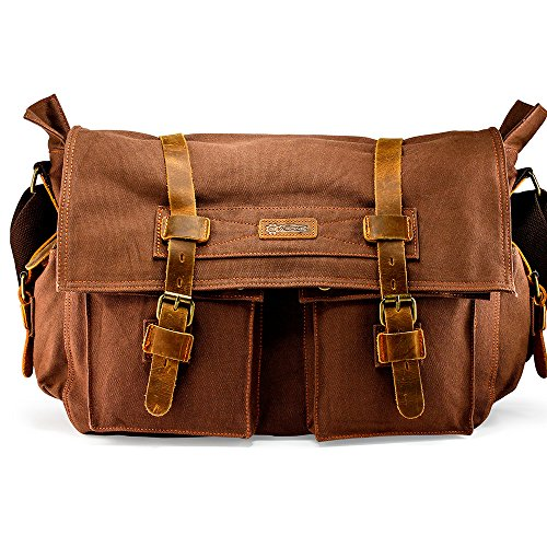 "GEARONIC 14"" 15"" 17"" Men's Messenger Bag Laptop Satchel Vintage Shoulder Military Crossbody … (17"
