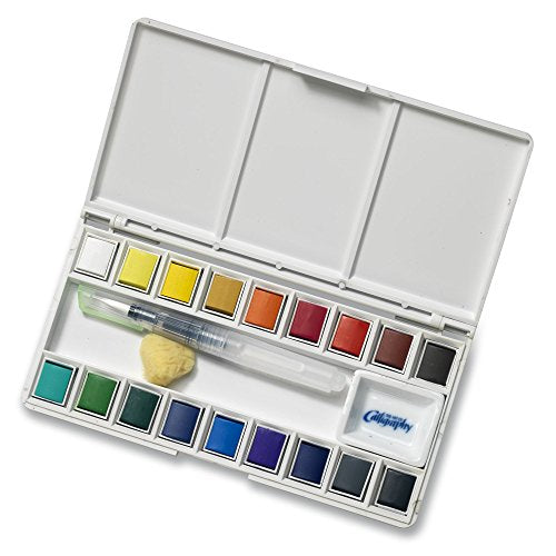 Jerry Q Art 18 Assorted Water Colors Travel Pocket Set- Free Refillable Water Brush With Sponge -