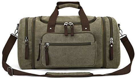 Canvas Duffel Bag, Aidonger Vintage Canvas Weekender Bag Travel Bag Sports Duffel with Shoulder Strap (Army Green)
