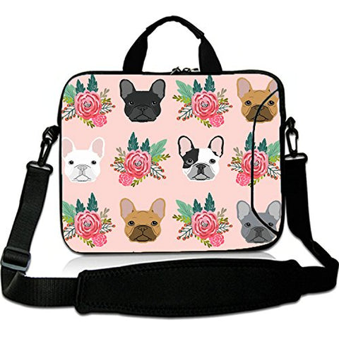 "17 Inches Laptop Shoulder Bag Briefcase Cute Bull Dogs Pink Florals Waterproof Neoprene Laptop Carrying Bag Sleeve for Macbook 17""/Alienware 17 R4/Surface Laptop"