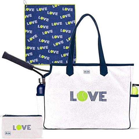 Ame & Lulu Love All Court Bag Gift Set with Matching Cosmetic Case and Tennis Towel