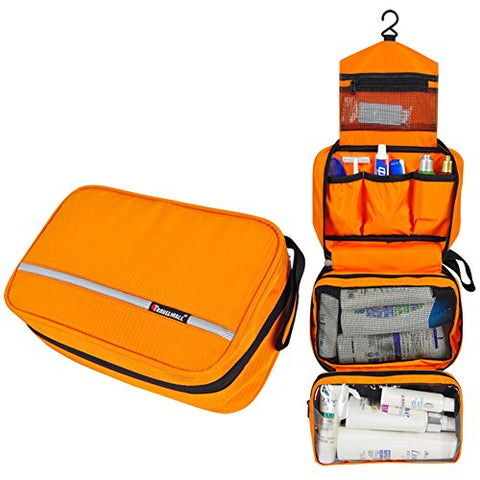 Travel Toiletry Bag - Compartments Portable and Folding Cosmetic Bags with Hook Organizer Bags for Business, Traveling, Outdoor, Vacation, Perfect for Men & Women (Orange)