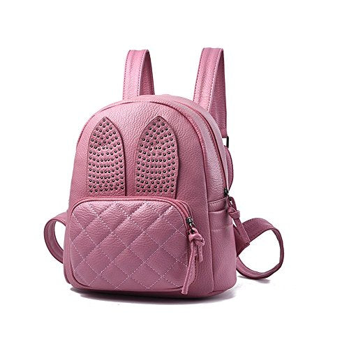 S Kaiko PU Leather Backpack Casual Daypacks School Backpack for Women Rucksack Travel Backpack for Go Shopping (pink)